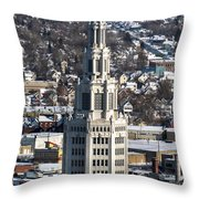 Buffalo Ny Electric Building Winter 2013 Throw Pillow