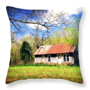 Buffalo River Homestead Throw Pillow by Marty Koch