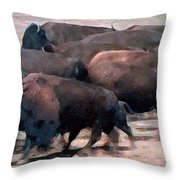 Buffalo Stampede Throw Pillow