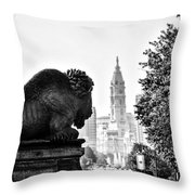 Buffalo Statue On The Parkway Throw Pillow