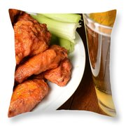 Buffalo Wings With Celery Sticks And Beer Throw Pillow
