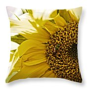 Bug In The Sunflower Throw Pillow