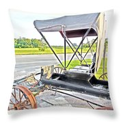 Buggy By The Road Throw Pillow