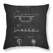 Bugle Call Instrument Patent Drawing From 1939 - Dark Throw Pillow