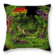 Bugs At The Zoo Daisies And Dragonfly Throw Pillow