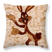 Bugs Banny Original Coffee Painting Throw Pillow