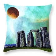 Building A Mystery 2 - Stonehenge Art By Sharon Cummings Throw Pillow