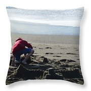 Building A Sand Castle  Throw Pillow