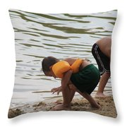 Building Castles At The Beach Throw Pillow