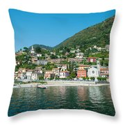 Building In A Town At The Waterfront Throw Pillow