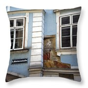 Building In Blue Throw Pillow