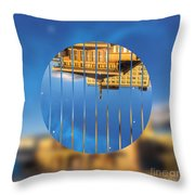 Building In The Morning With Starry Night Sky Throw Pillow