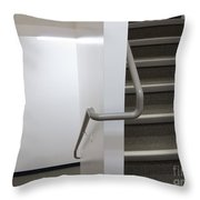 Building Interior White Staircase With Handrails Throw Pillow