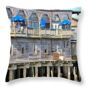 Building On Piles Above Water Throw Pillow by Lorna Maza
