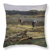 Building Site At Wesslingersee, 1876 Oil On Canvas Throw Pillow