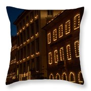 Building Windows Outlined In Lights Throw Pillow