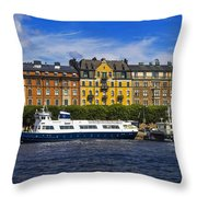 Buildings And Boats Throw Pillow