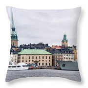 Buildings At The Waterfront, Gamla Throw Pillow
