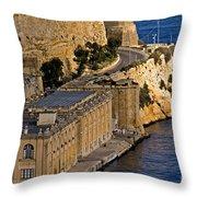 Buildings By The Mediterranean Sea Throw Pillow