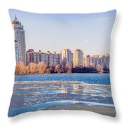 Buildings Close To The Frozen River Throw Pillow