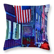 Buildings Flag Bright Red Coat Throw Pillow