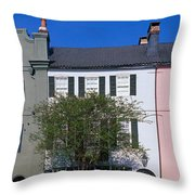 Buildings In A City, Rainbow Row Throw Pillow