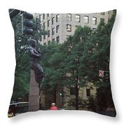Buildings In A City, Trade And Tryon Throw Pillow