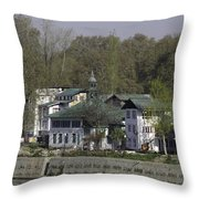 Buildings On The Shore Of Section Of Dal Lake In Srinagar Throw Pillow