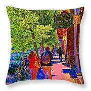 Buk And Nola Gift Shop Decor Boutique Rue Laurier Art Of Montreal Street Scene Carole Spandau Throw Pillow