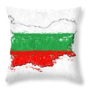 Bulgaria Painted Flag Map Throw Pillow