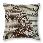 Bulgarian Soldier Stamp - Circa 1944 Throw Pillow