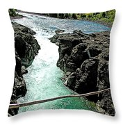 Bulkley River Falls In Moricetown-bc Throw Pillow