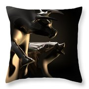 Bull And Bear Stock Market Statues Throw Pillow by Allan Swart