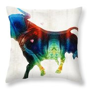 Bull Art - Love A Bull 2 - By Sharon Cummings Throw Pillow