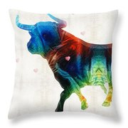 Bull Art - Love A Bull 2 - By Sharon Cummings Throw Pillow