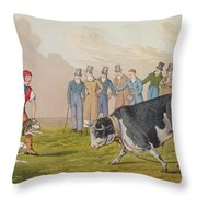 Bull Baiting Throw Pillow