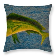 Bull Dolphin Mahimahi Fish Throw Pillow