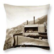 Bull Dozer Road Construction On Highway One Big Sur Circa 1930 Throw Pillow