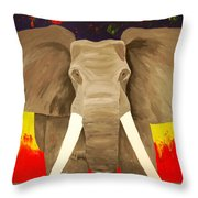 Bull Elephant Prime Colors Throw Pillow