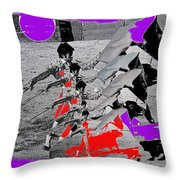Bull Fight Matador Charging Bull Collage Us-mexico Mexico Border Town Nogales Sonora Mexico   1978-2 Throw Pillow