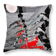 Bull Fight Matador Charging Bull Us Mexico Border Town Nogales Sonora Mexico Collage 1978-2012 Throw Pillow