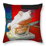 Bull Frog Painted Throw Pillow