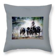 Bull Herd Throw Pillow