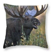Bull Moose Calling Throw Pillow by Gary Langley