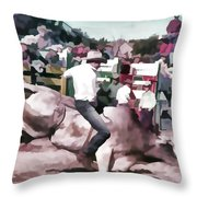 Bull Rider Digital Art  By Cathy Anderson Throw Pillow