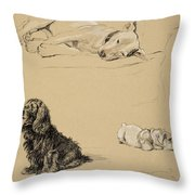 Bull-terrier, Spaniel And Sealyhams Throw Pillow by Cecil Charles Windsor Aldin
