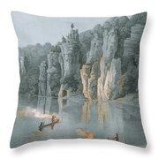 Bullard Rock On The New River Throw Pillow
