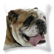 Bulldog, Male Panting Throw Pillow