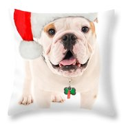 Bulldog Santa Throw Pillow