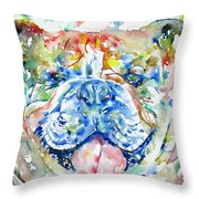 Bulldog - Watercolor Portrait Throw Pillow